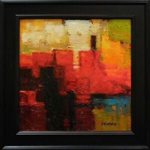 "Framed Original Oil Abstract Art on Canvas by Hunoz.  - 20""x 20"""