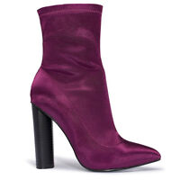 Ladies Satin Lycra Block High Heels Ankle Boots Sock Fit Celebrity Celeb Size