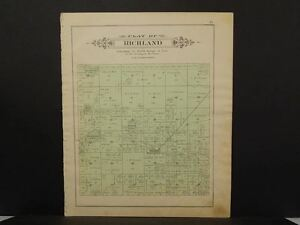 Details About Michigan Ogemaw County Map Richland Or West Branch Township 1903 Dbl Side L10 72
