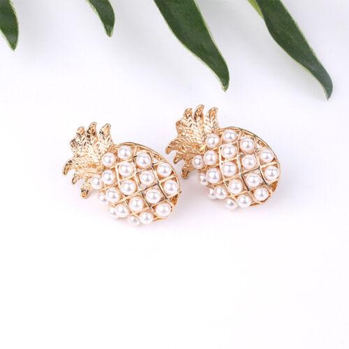 Tendance filles Fausses Perles Ananas métal Stud Earring Ear Stud mignon bijoux