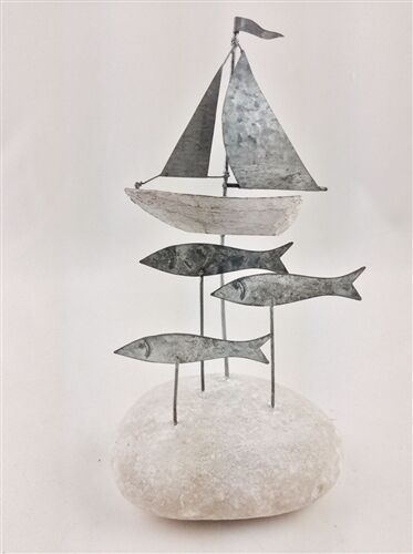 Nautical Beach Ornament with Tin Fish and Sailing Boat on Pebble Stone Base Gift
