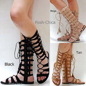 New Women Iim9 Tan Black Beige Strappy Lace Gladiator Mid-Calf Tall Sandals