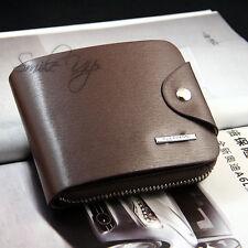 Mens Soft Brown Leather Bifold Credit Card Holder Purse Zip Wallet