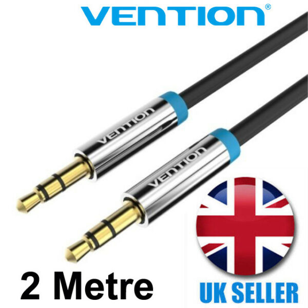 2m Black Aux Cable 3.5 Mm Male Jack Gold Plate Car Auxiliary Audio Stereo Lead