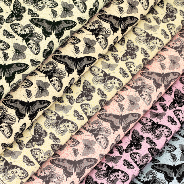 Cotton Print Fabric FQ Black Butterfly Insect Retro Dress Quilting Patchwork VS2