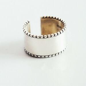 Silberring-Breit-Glatt-Bandring-Schlicht-Ring-Silber-925-Verstellbar-Offen