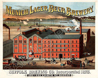 H /& J Phaff  Vintage Boston Brewery advertising poster reproduction.