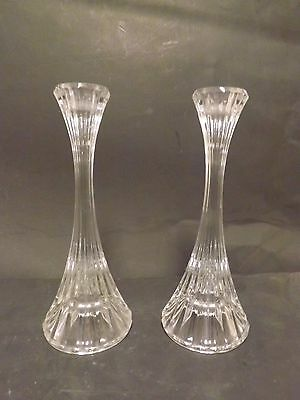 2 MIKASA PARKLANE CLEAR GLASS VERTICAL RIBBED SLENDER CANDLE STICK HOLDERS