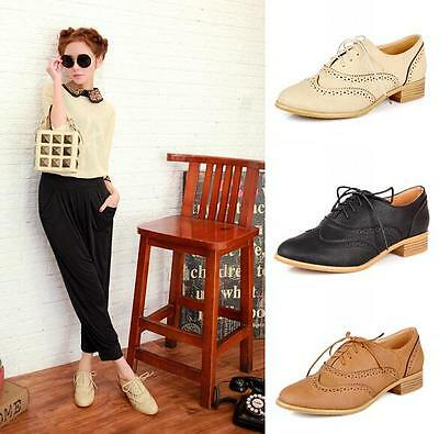 Preppy womens Flats ladies Brouge shoes low heel lace up oxfords wing tip shoes