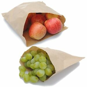 Brown-White-Kraft-Paper-Food-Bags-Market-Stall-Bags-Choose-Size-amp-Pack-Quantity