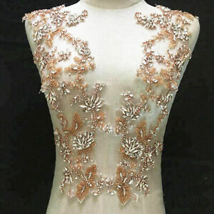 Rose Gold Rhinestone Appliques Bling Diamante Bridal Applique For Wedding Dress Ebay