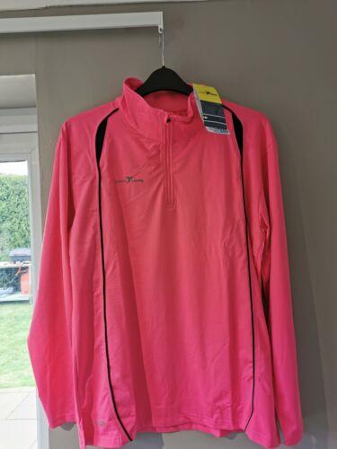 Men/'s Precision Running Florescent Pink Long Sleeve Turtle Running Top XL 46-48