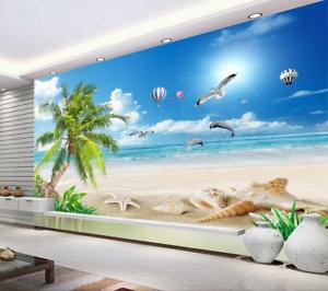Papel Pintado Mural De Vellón Globos De Playa Conchas 2 Paisaje Fondo Pansize