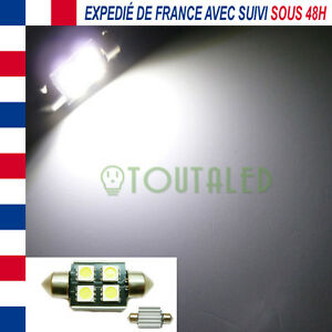AMPOULE LAMPE NAVETTE C5W 36MM 12V 4 LED 5050 BLANC XENON ANTI ERREUR ODB CANBUS