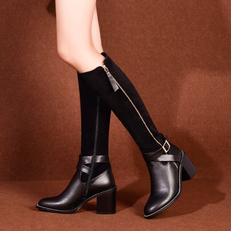 Womens Fashion Leather Two Tone Buckle Strap Zippers Knee High Boots shoes XUNL