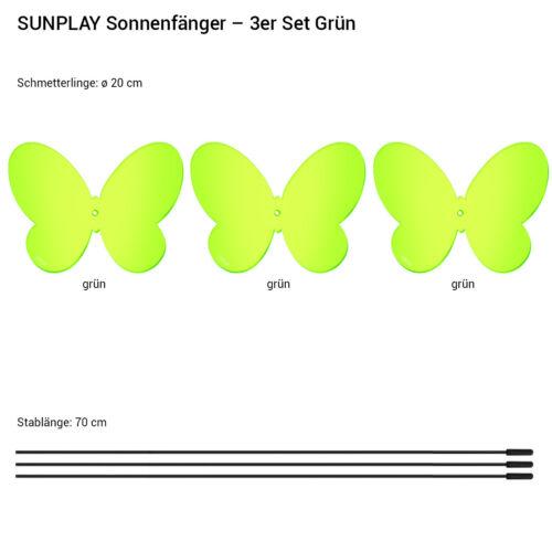 3 Stück SUNPLAY Sonnenfänger Ø20cm Suncatcher Gartenstecker Schmetterling GRÜN