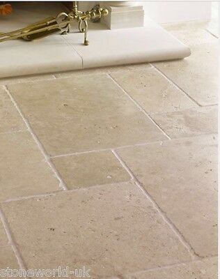 Sample Of Tumbled Classic Light Travertine Wall Floor Tiles Ebay