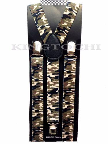 New Mens Women Camo Clip-on Suspenders Elastic Y-Shape Adjustable Braces