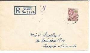 Montserrat SG#76(single frank)-1927-REGISTERED-AIR MAIL to CANADA