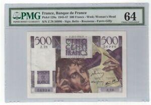 France 500 Francs Banknote 1946 Pick# 129a PMG Choice UNC 64