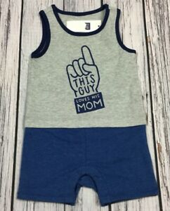 Baby-Gap-Boys-3-6-Months-Shorts-Romper-This-Guy-Loves-Mom-Outfit-Nwt