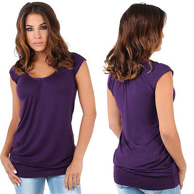 Ladies Low Cut Plain Hip Long Line Top T Shirt Tunic Summer Holiday SA