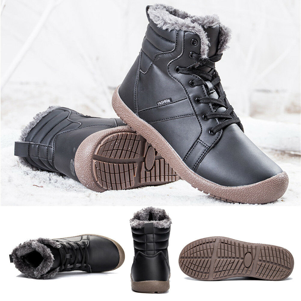 Women Winter Leather Snow Boots Waterproof With Fur Lined Lace-Up Sneaker shoes