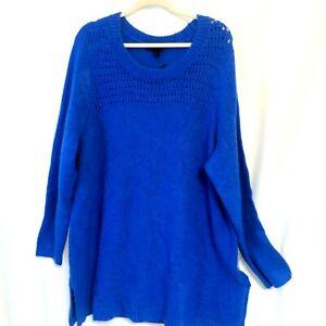 Lane-Bryant-NWT-60-Soft-Cozy-Long-Loose-Fit-Sweater-Plus-22-24-2X-3X-Deep-Blue