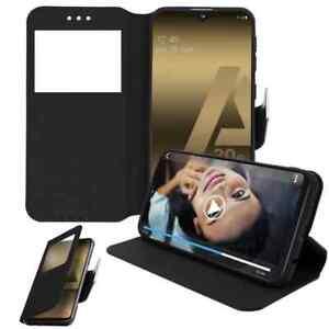 Coque Etui Housse Noir View pour Samsung Galaxy A20e
