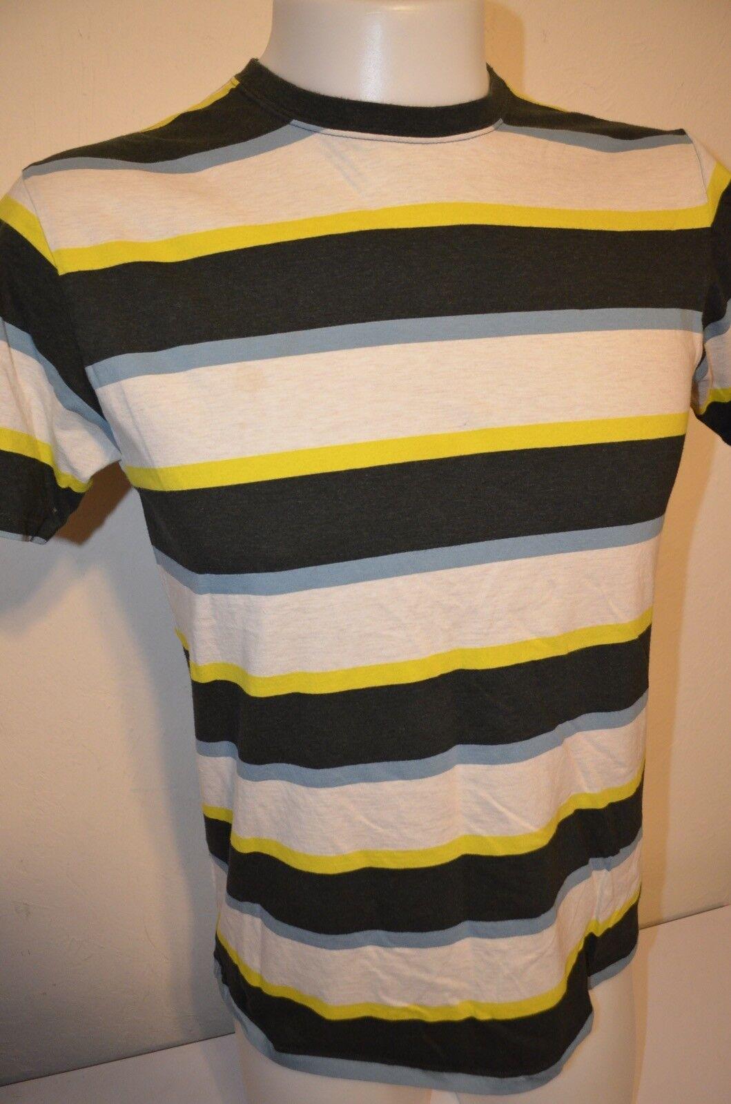 Patagonia Blau Gelb Striped 100% Organic Cotton Soft Thin  Herren M T-Shirt EUC