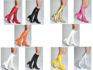 Womens Ladies Fancy Dress Knee High Eyelet Boots  60s 70s Party Fashion Boots