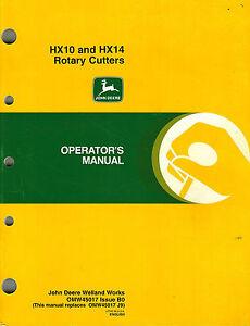 John deere hx10 and hx14 rotary cutter operators owners manual.