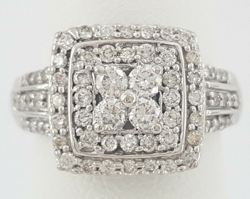 653ab3c412ea2 Cluster Diamond Cut Round gold 14K ct 0.75 Double White Ring ...