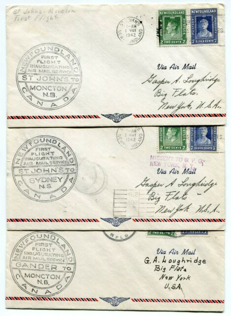 Newfoundland 1942 Inauguration Air Mail Different 1st Flight 3 Covers USA