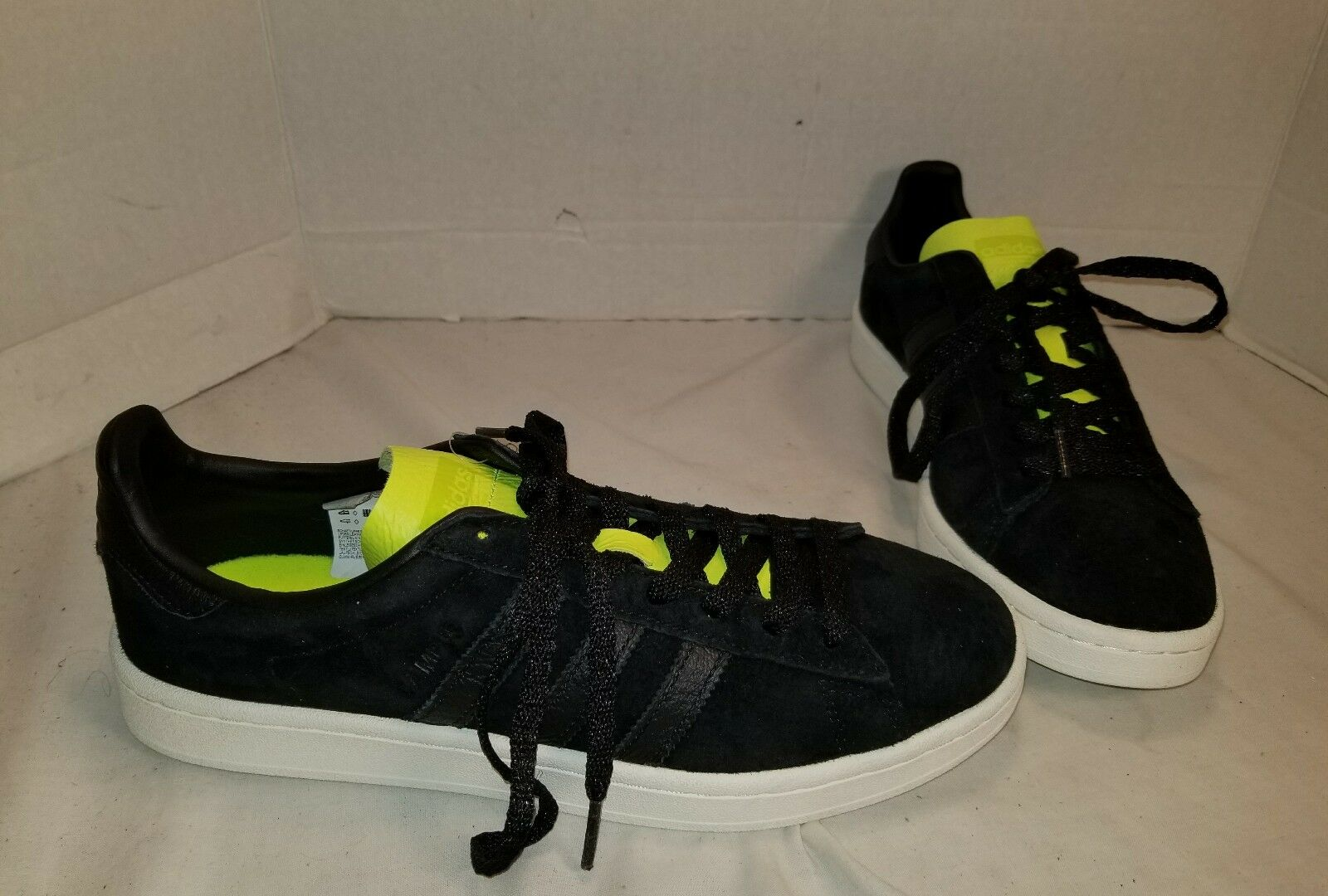 NEW MEN'S ADIDAS CAMPUS BLACK SUEDE WITH NEON SNEAKERS SHOE SIZE US 9