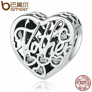 Bamoer-European-S925-Sterling-Silver-Charm-LOVE-Mother-amp-Son-Fit-Bracelets-Jewelry
