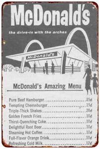 Vintage Retro Reproduction McDonald/'s Big Mac Hamburgers Metal Tin Sign 9x12
