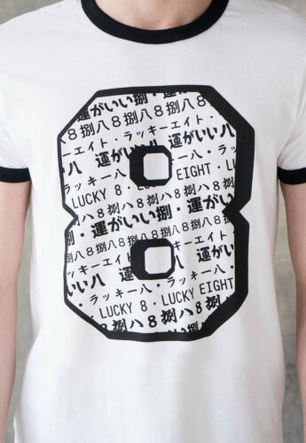 Japanese Ringer T Shirt Top Lucky Number Anime Japan Tokyo Cool Mens Printed Tee