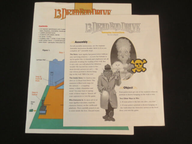 13 Dead End Drive Gameplay Assembly Instructions 1993 Milton Bradley Board Game