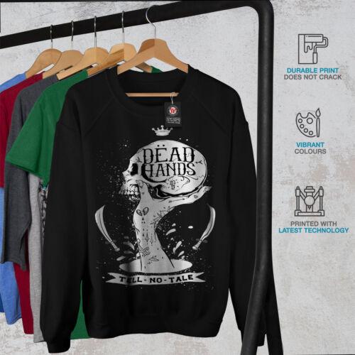 Wellcoda Dead Hand Goth Womens Sweatshirt Skull Casual Pullover Jumper