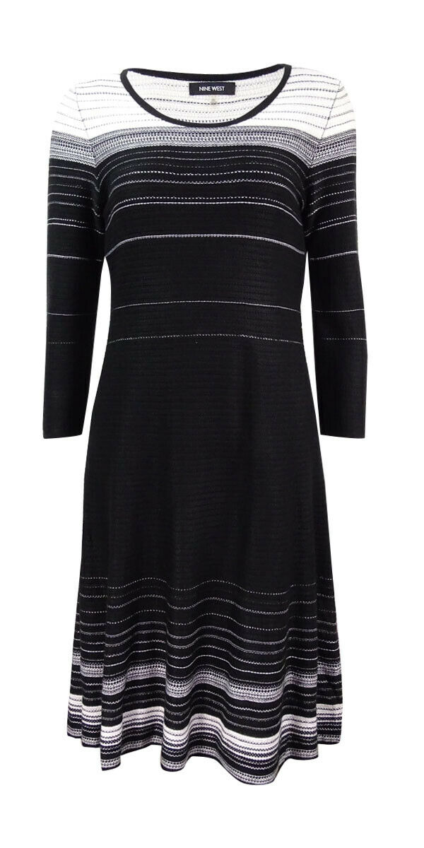 Nine West Women's Striped A-Line Sweater Dress