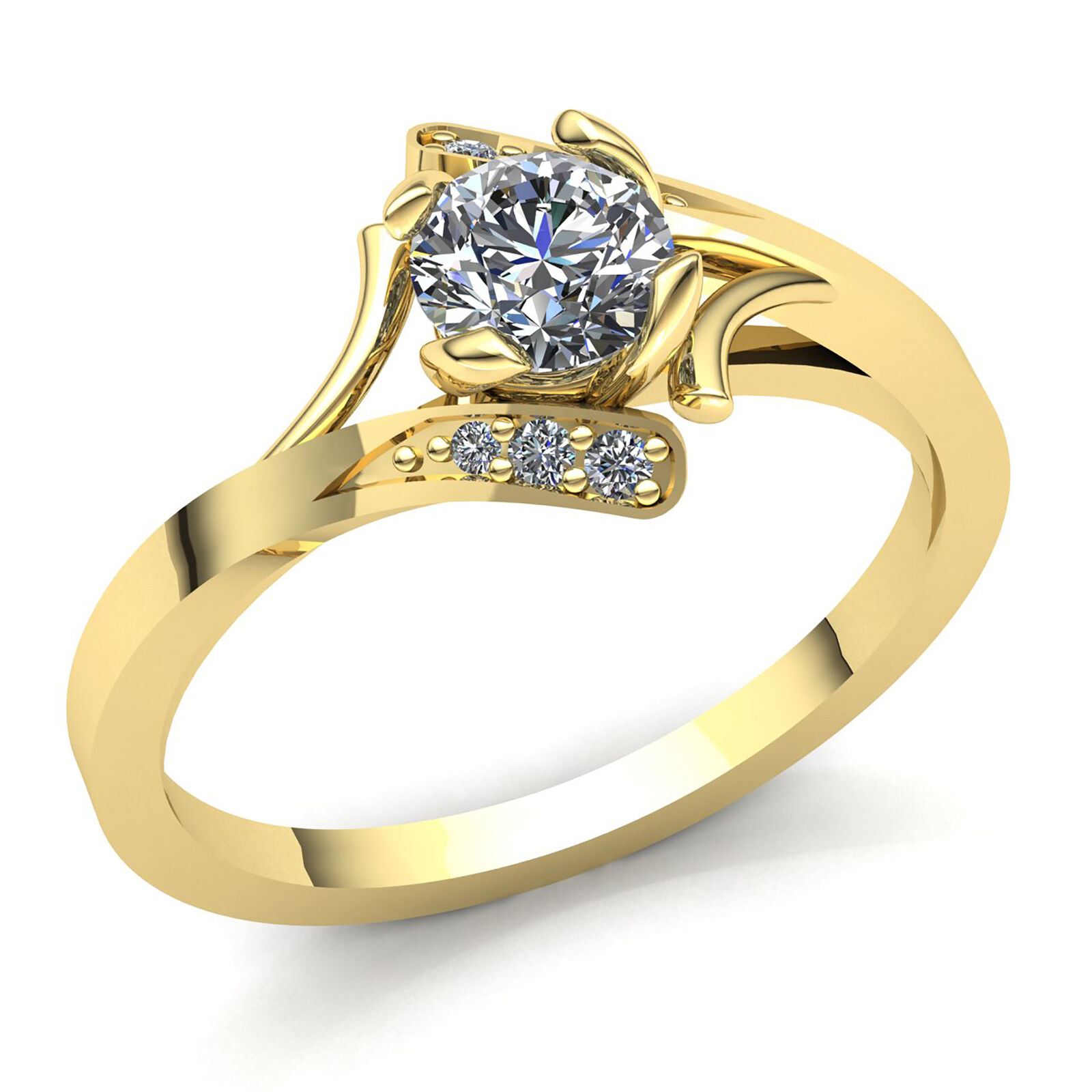 Genuine 0.33ct Round Diamond Ladies Solitaire Proposal Engagement Ring 18K gold
