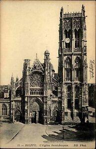 Dieppe-France-carte-postale-1910-L-039-Eglise-St-Jaques-Gesamtansicht-aussen