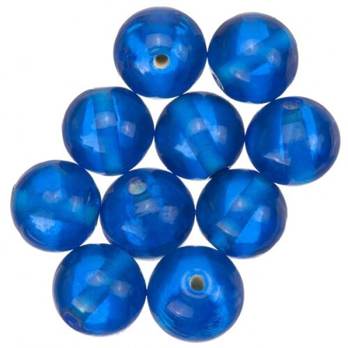 A47//8 Transparent Sky Blue Round Glass Beads 12mm Pack of 10