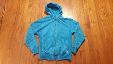 Stussy Graphic Print Blue Hoodie Sweatshirt MEDIUM Full Zip Cotton Long sleeve
