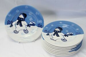 Northcrest-Home-Snowman-Winter-Valley-Salad-Plates-8-034-Lot-of-8