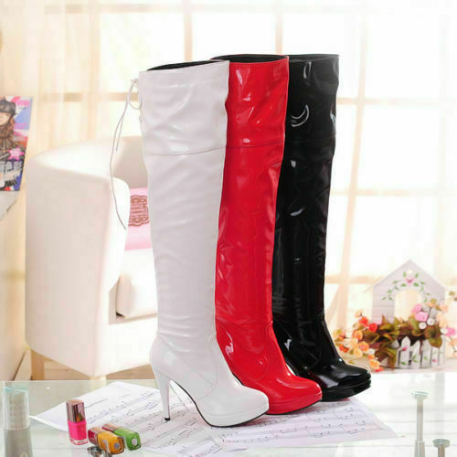 Ladies Patent Leather Stiletto High Heel Lace Up Over Knee High Boots Plus Size
