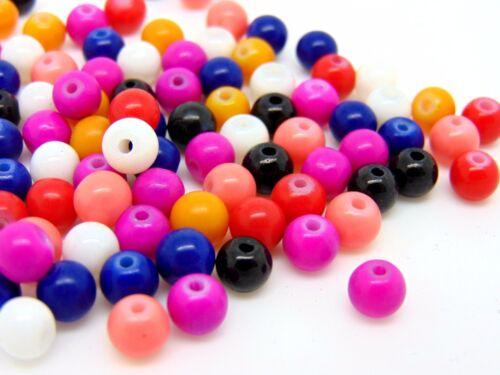 6mm Mixed Glass Imitation Gemstone Beads Jewellery Craft Beading B103 200 Pcs