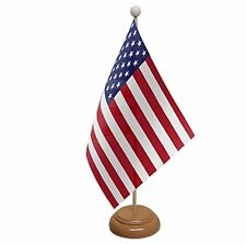 "USA TABLE FLAG 9""X6"" WITH WOODEN BASE FLAGS UNITED STATES OF AMERICA AMERICAN"