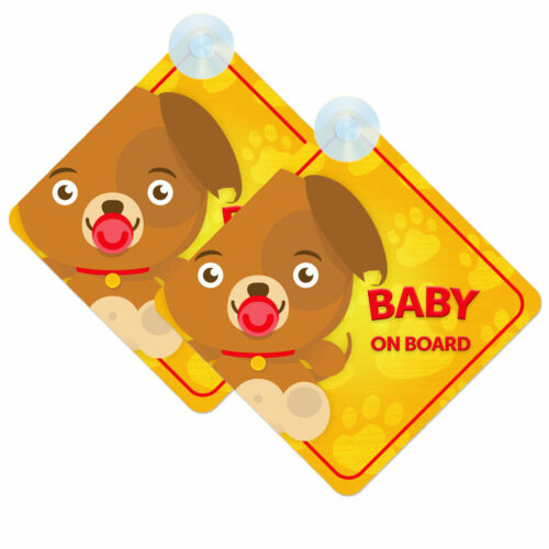Baby On Board Car Signs for Boy//Girl Twin Pack of Dog//Puppy Design 2pcs